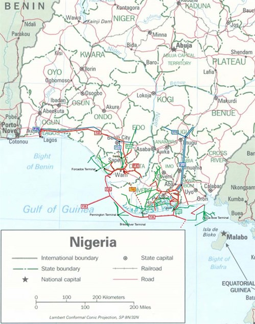 Nigeria _oil _gas _and _products _pipelines _map