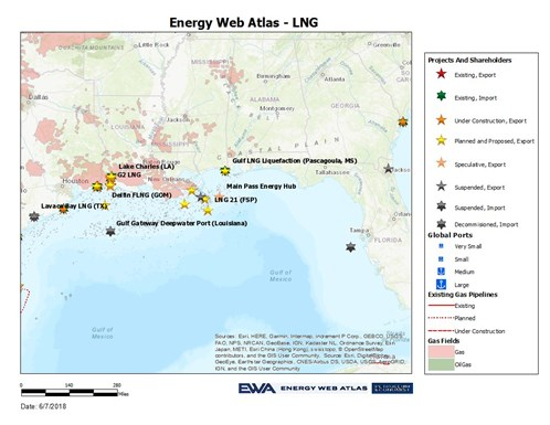 Gulf Of Mexico LNG Sites