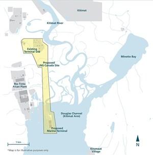 Canada Site Map LNG Canada participants delay final investment decision